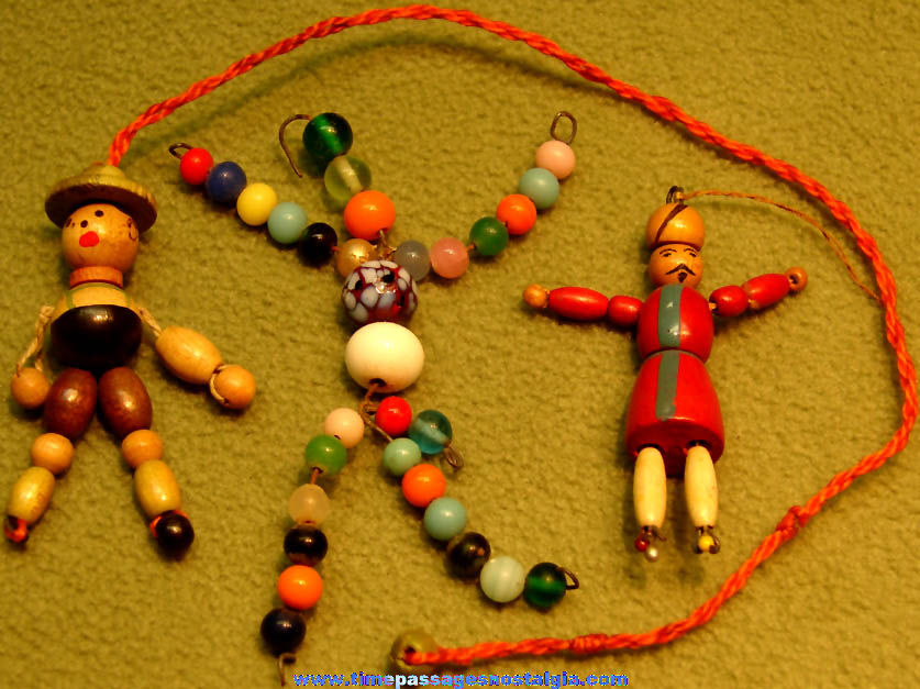 (3) Different Old Cracker Jack Pop Corn Confection Glass & Wood Beaded People Doll Figure Toy Prizes