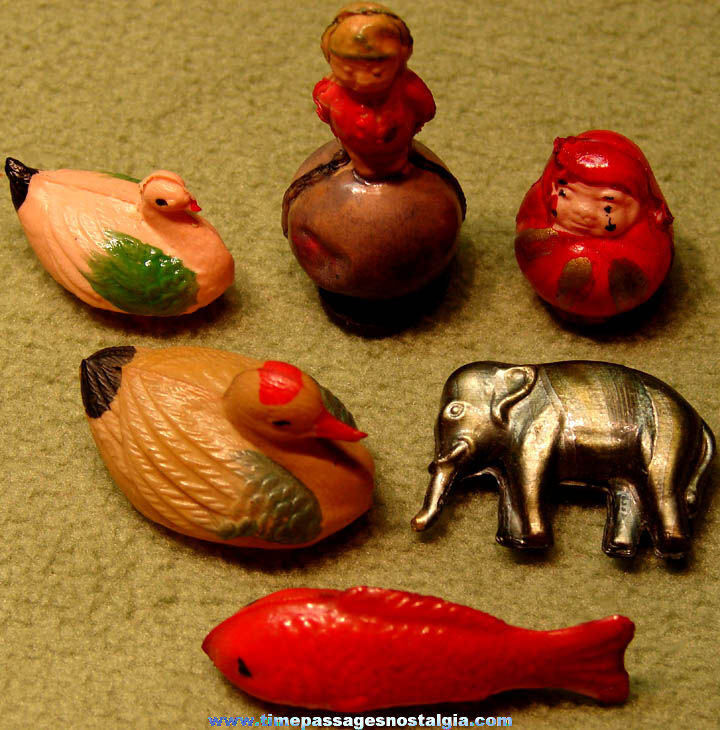 (6) Different Colorful Old Miniature Hollow Celluloid Toy or Prize Items