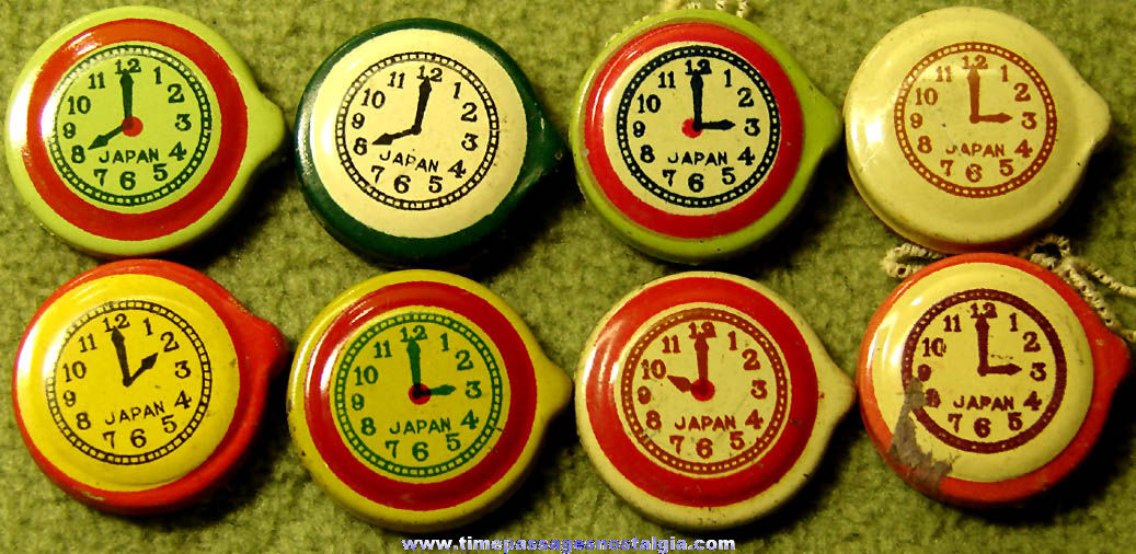 (8) Different Colorful Old Cracker Jack Pop Corn Confection Miniature Lithographed Tin Toy Clock or Watch Prizes
