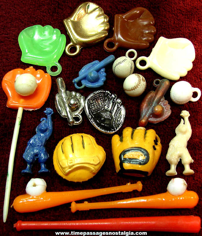 (19) Small Colorful Old Baseball Related Sports Items