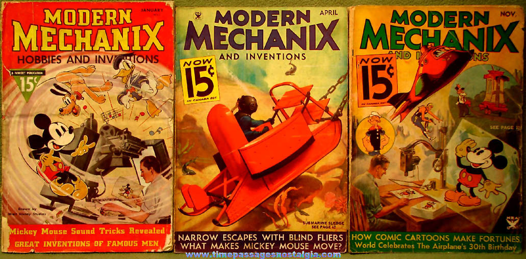 (3) Different 1930s Modern Mechanix Magazines with Walt Disney Cartoon & Comic Character Articles
