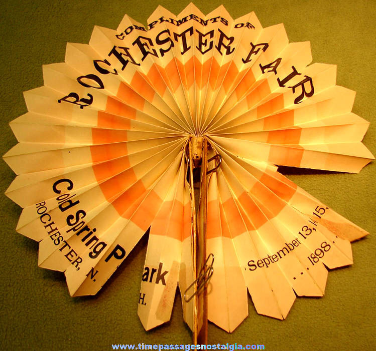 1898 Rochester New Hampshire Fair Advertising Souvenir Hand Held Folding Fan