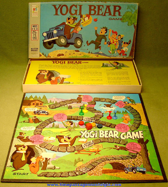 ©1971 Hanna Barbera Yogi Bear Cartoon Character Board Game