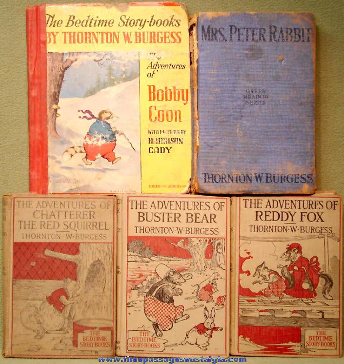 (5) Different Old Thornton Burgess Animal Character Children's Adventure Books