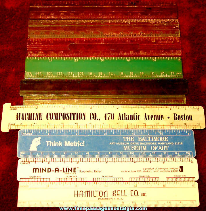 (10) Small Old Children's Celluloid & Plastic School Rulers