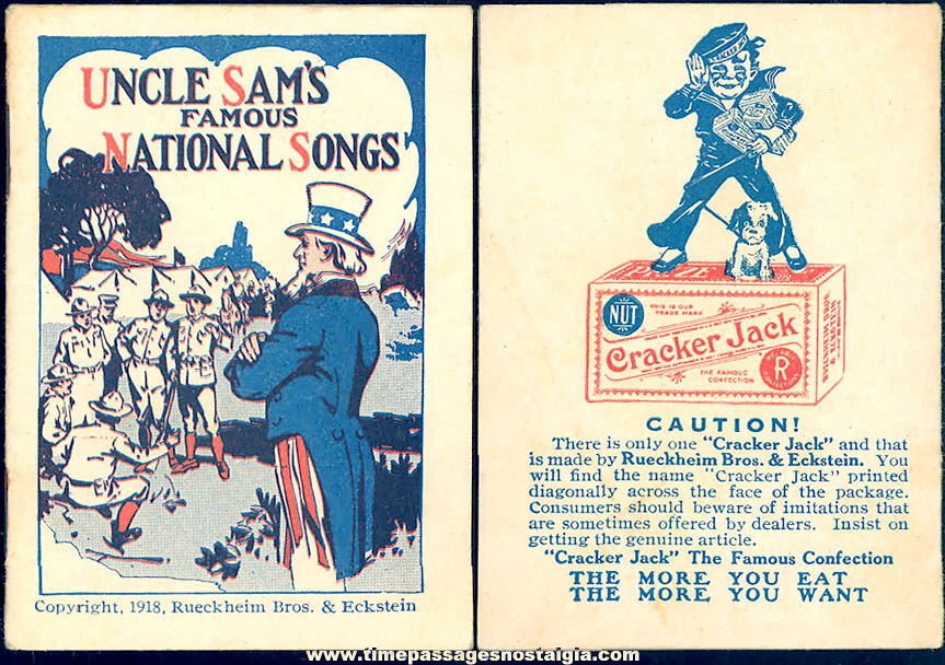 ©1918 Cracker Jack Pop Corn Confection Uncle Sam's National Songs Miniature Toy Prize Booklet