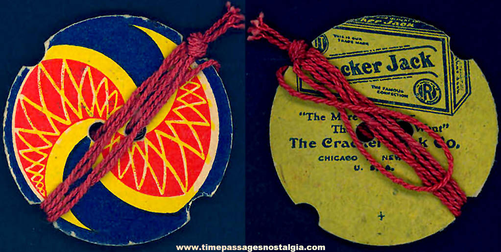 Colorful 1930s Cracker Jack Pop Corn Confection Advertising Toy Prize Cardboard Buzzer Spinner