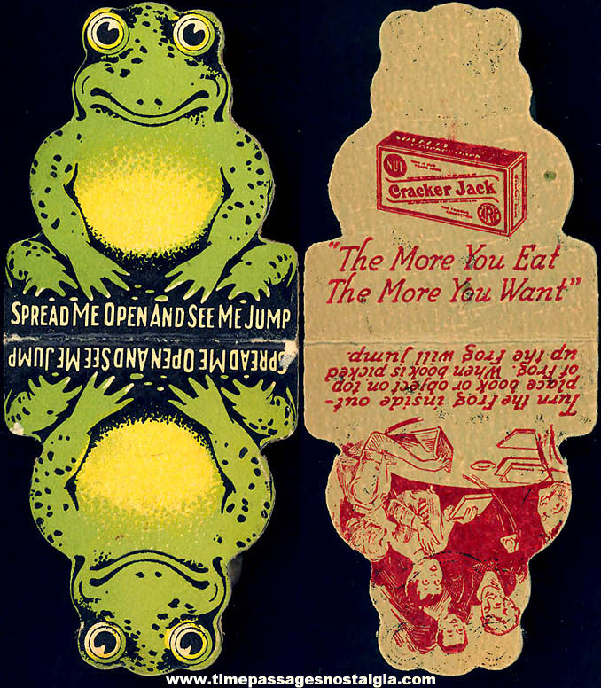 Colorful 1930s Cracker Jack Pop Corn Confection Advertising Toy Prize Cardboard Jumping Frog