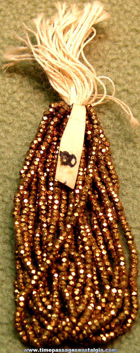 Old Cracker Jack Pop Corn Confection Toy Prize Strung Gold Faceted Beads For Making Jewelry
