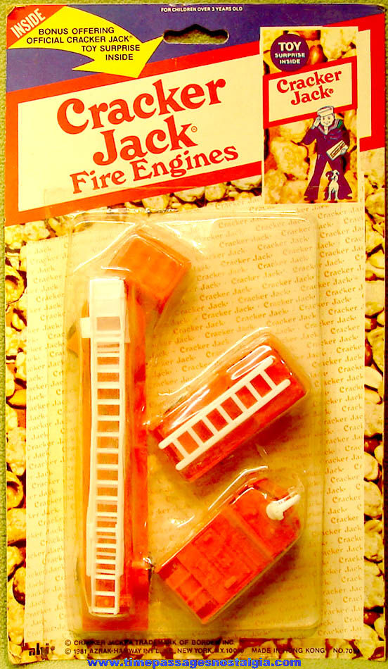 (3) Unopened ©1981 Cracker Jack Pop Corn Confection Advertising Toy Fire Truck Vehicles