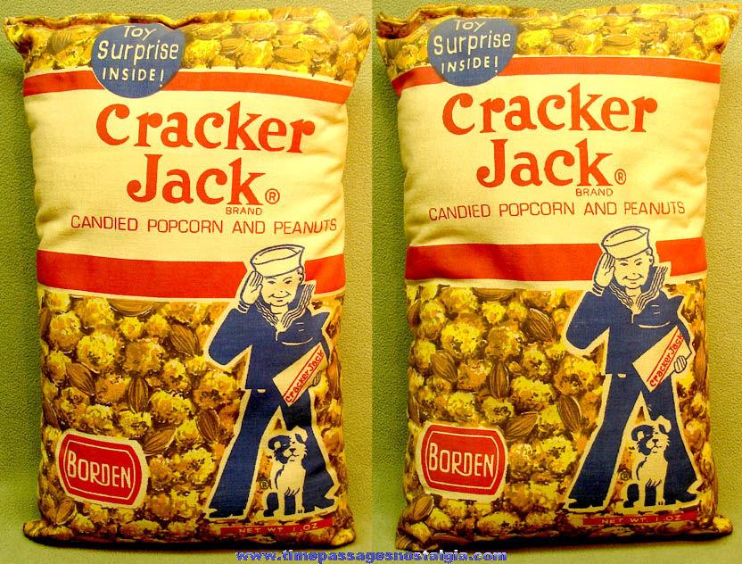 Old Borden Cracker Jack Pop Corn Confection Advertising Imprinted Cloth Pillow