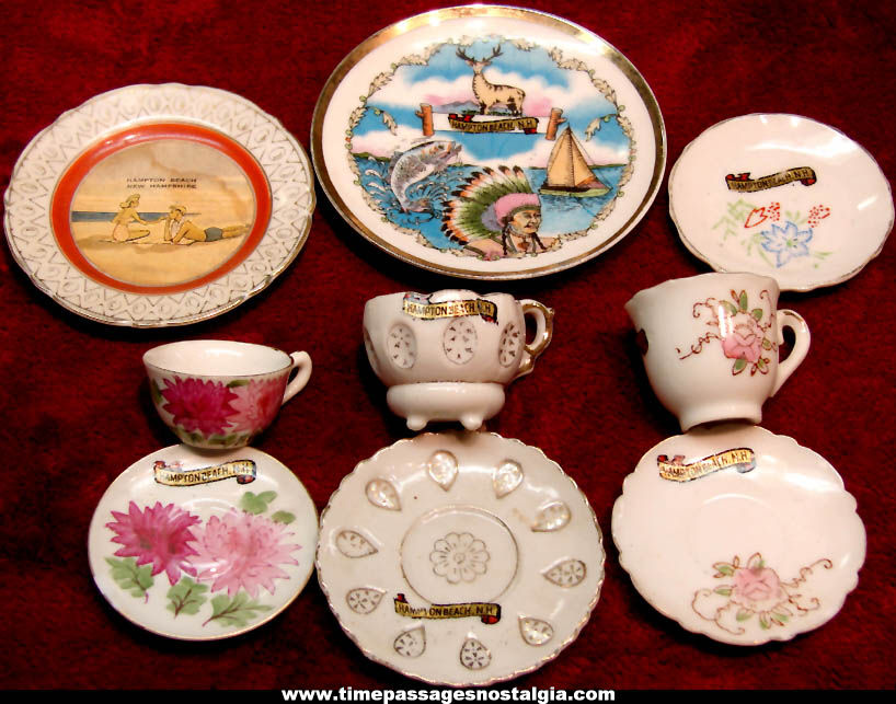(9) Different Old Hampton Beach New Hampshire Advertising Souvenir Porcelain Items