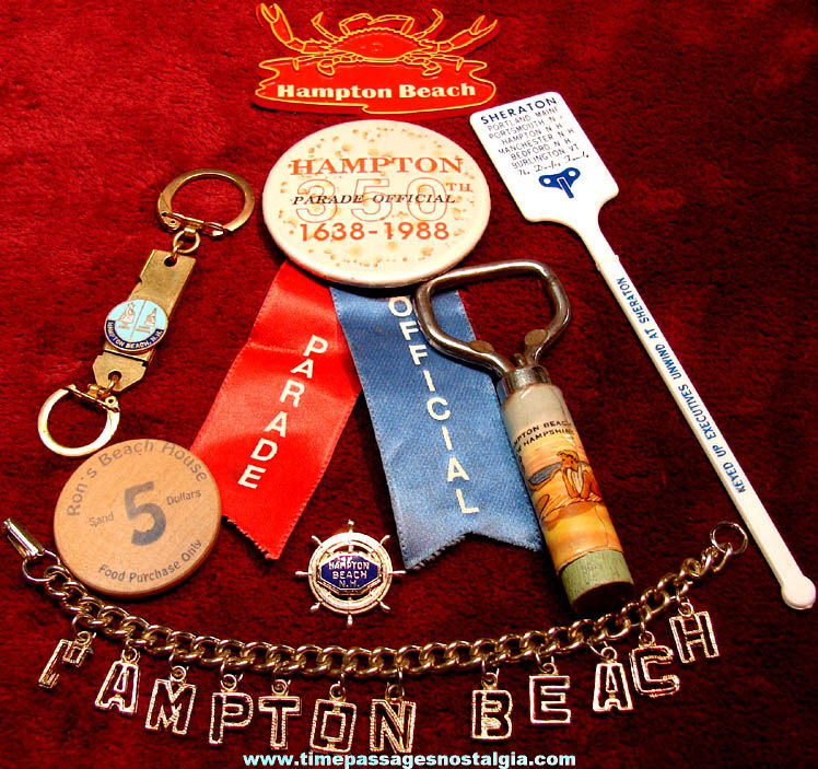 (8) Different Small Old Hampton Beach New Hampshire Advertising & Souvenir Items