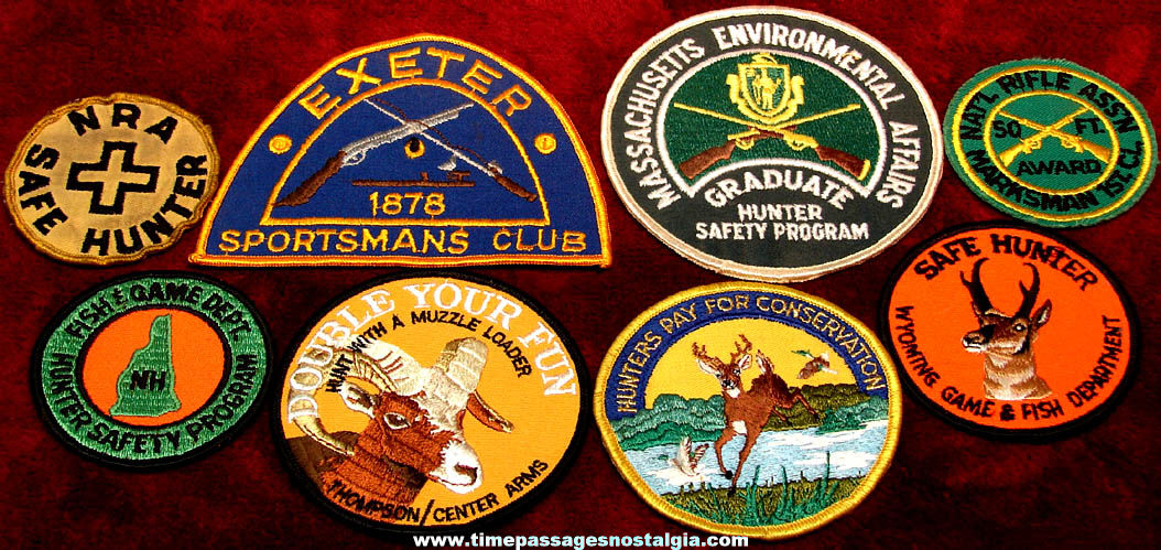 (8) Different Old Hunter or Hunting Related Advertising Embroidered Cloth Patches