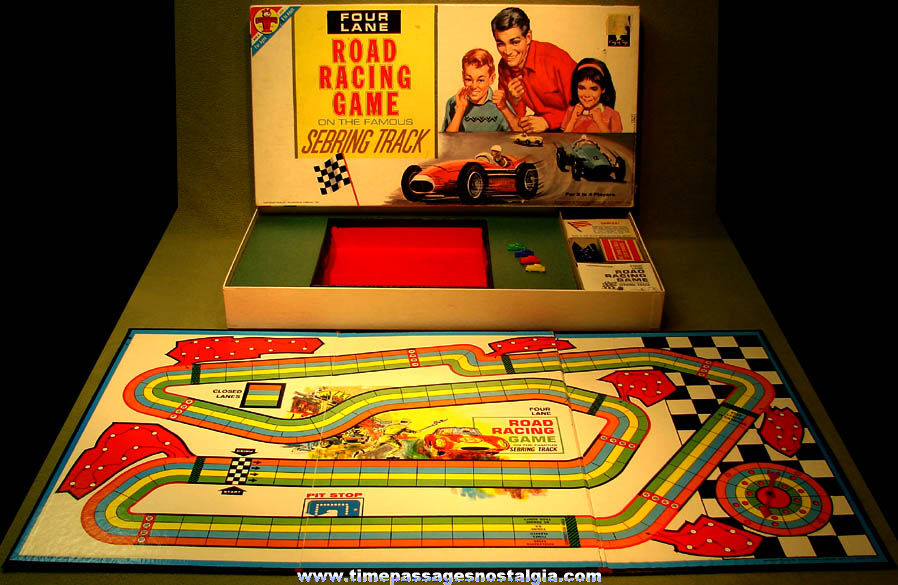 ©1963 Boxed Transogram Four Lane Sebring Track Road Racing Game