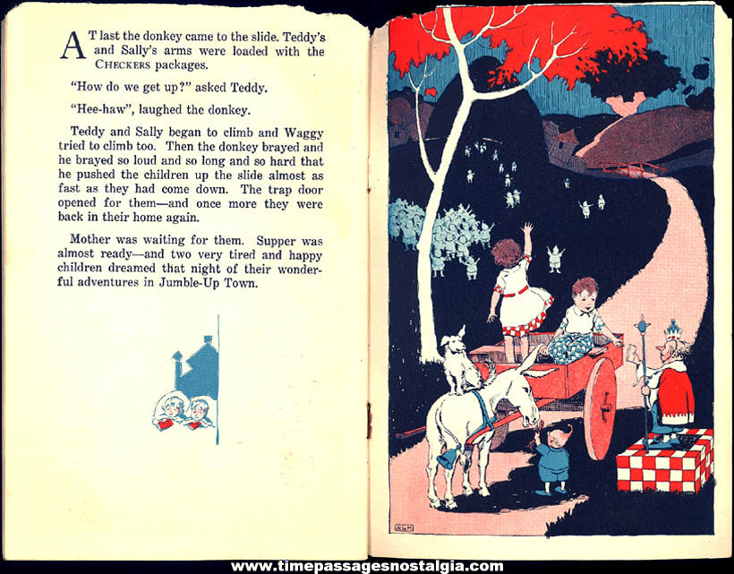 Rare ©1926 Adventures In Jumble-Up Town Checkers Pop Corn Confection Advertising Premium Book with (4) Advertisements