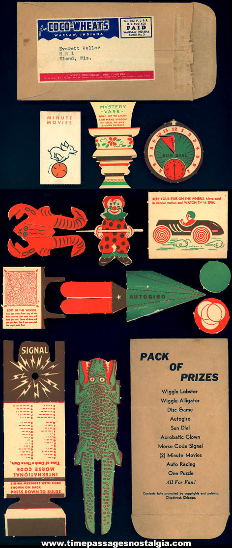 Rare 1940s Coco Wheats Cereal Advertising Premium C. Carey Cloud Cloudcrest Pack of Prizes with Envelope