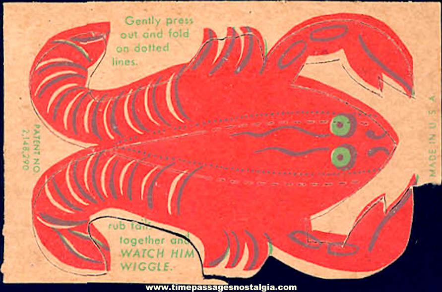 Unused 1930s Cracker Jack Pop Corn Confection C. Carey Cloud Wiggle Lobster Paper Prize