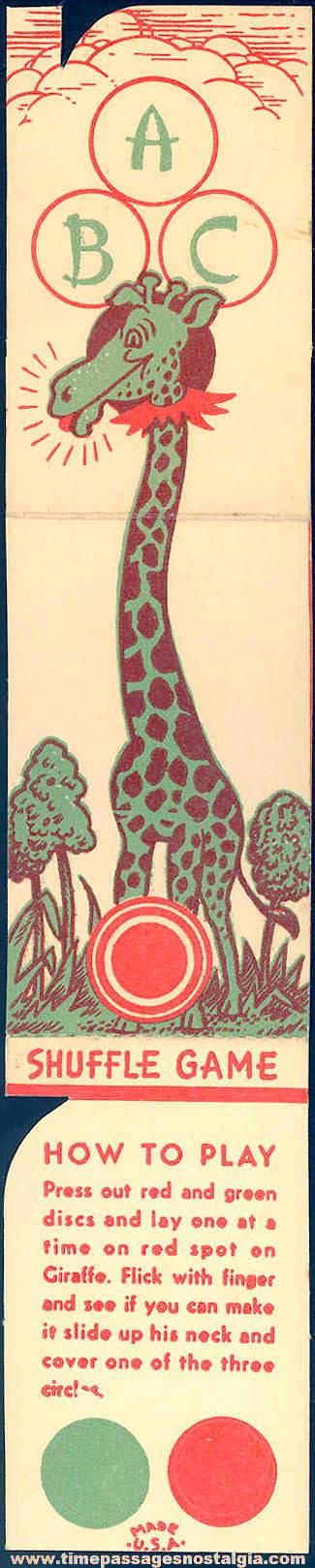 Unused 1930s Cracker Jack Pop Corn Confection C. Carey Cloud Giraffe Shuffle Board Game Paper Prize