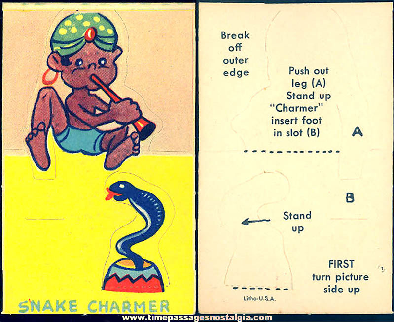 Unused ©1943 Cracker Jack Pop Corn Confection C. Carey Cloud Snake Charmer Pop Out Paper Prize