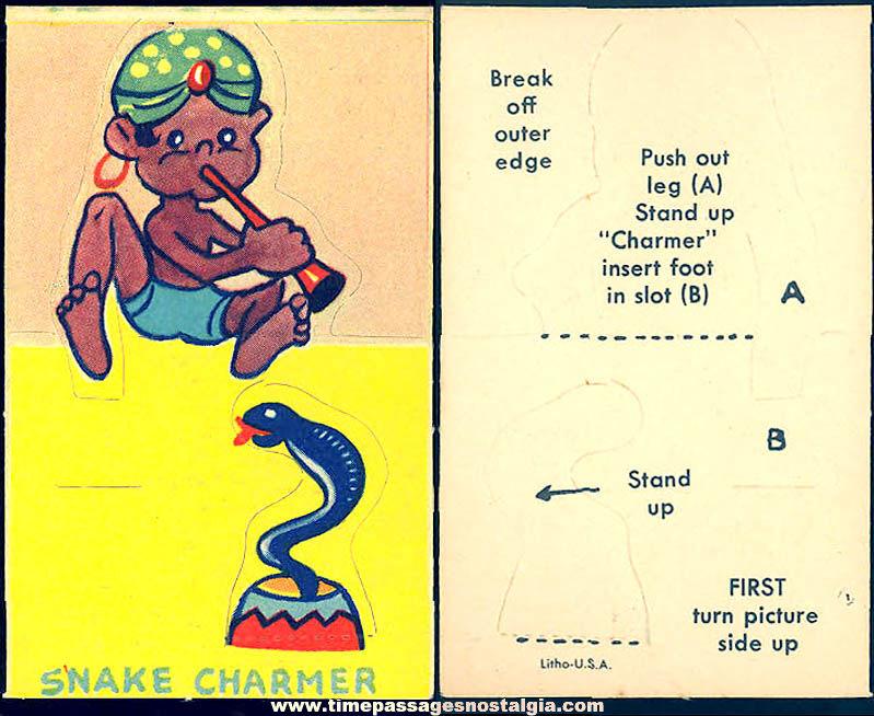 Unused ©1943 Cracker Jack Pop Corn Confection C. Carey Cloud Snake Charmer Pop Out Paper Prize