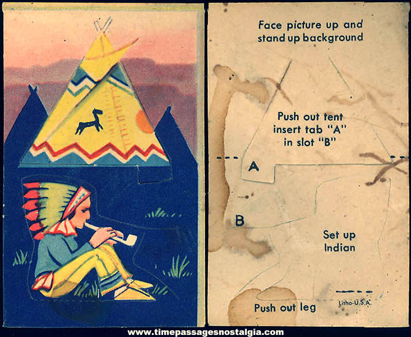 Unused ©1943 Cracker Jack Pop Corn Confection C. Carey Cloud Native American Indian Pop Out Paper Prize
