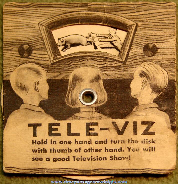 1950s Cracker Jack Pop Corn Confection Tele Viz Television Dial Mechanical Paper Prize
