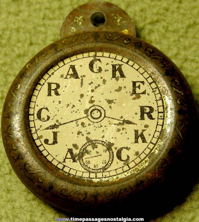 1931 Cracker Jack Pop Corn Confection Lithographed Tin Novelty Toy Prize Pocket Watch