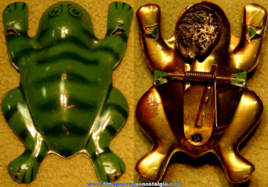 1930s Cracker Jack Pop Corn Confection Embossed and Lithographed Tin Jumping Frog Novelty Toy Prize