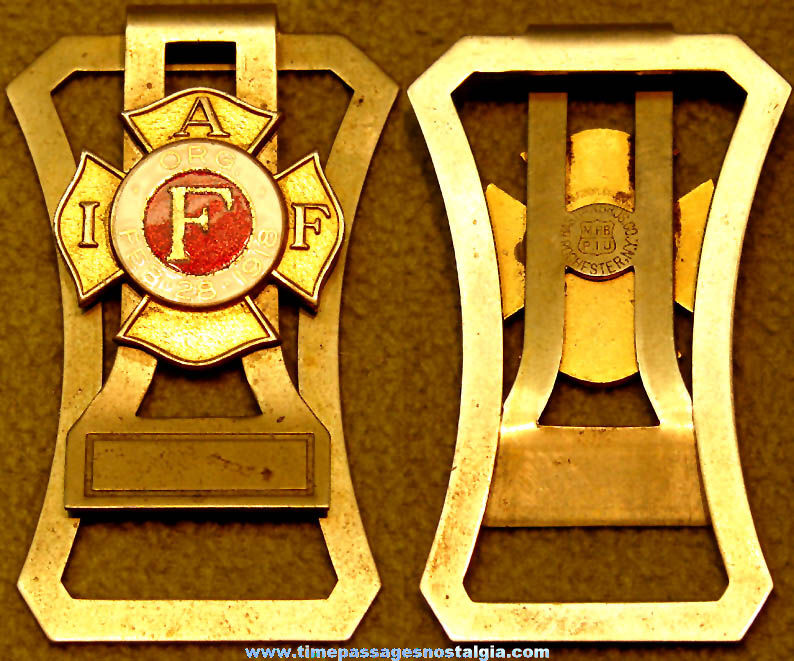 Old International Association of Fire Fighters Advertising Enameled Badge Money Clip