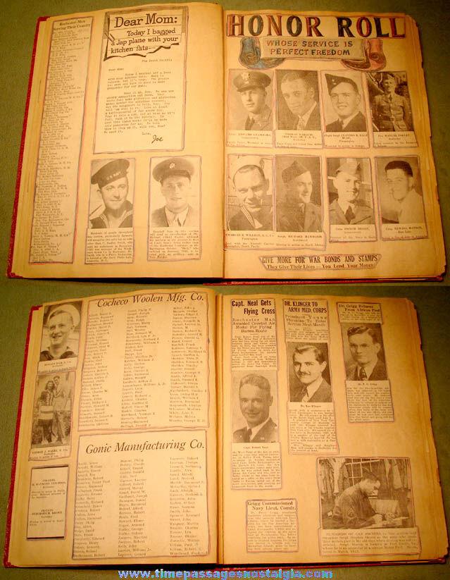 1943 Rochester New Hampshire World War II Military Servicemen Scrap Book