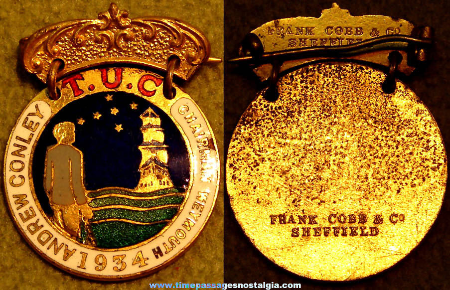 1934 Enameled Trades Union Congress T.U.C. Medal or Badge Pin