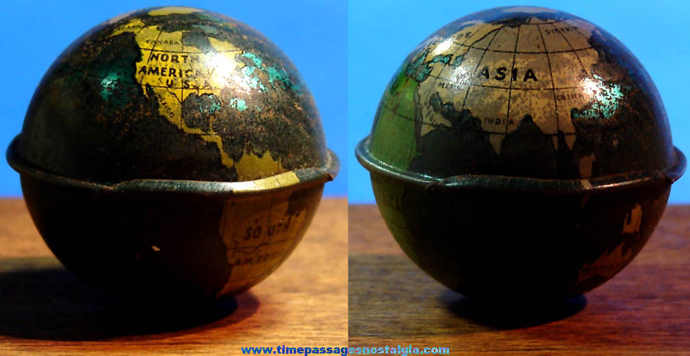 Old Cracker Jack Pop Corn Confection Miniature Lithographed Tin Earth Globe Toy Prize