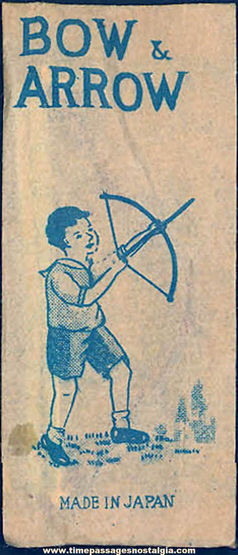 Unopened 1930s Cracker Jack Pop Corn Confection Miniature Toy Prize Bow and Arrow Set