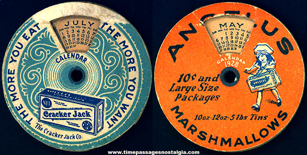 1928 Cracker Jack Pop Corn Confection & Angelus Marshmallows Advertising Premium Dial Calendar