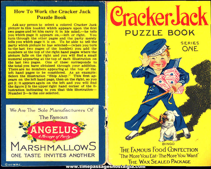 ©1917 Cracker Jack Pop Corn Confection & Angelus Marshmallows Advertising Toy Prize Puzzle Book Series One