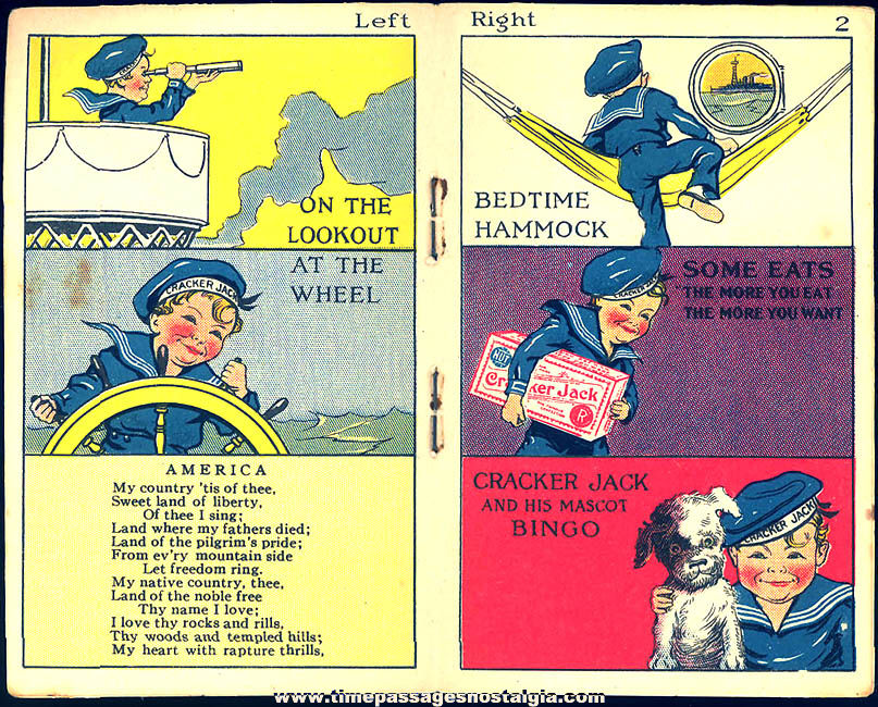 ©1917 Cracker Jack Pop Corn Confection & Angelus Marshmallows Advertising Toy Prize Puzzle Book Series Three
