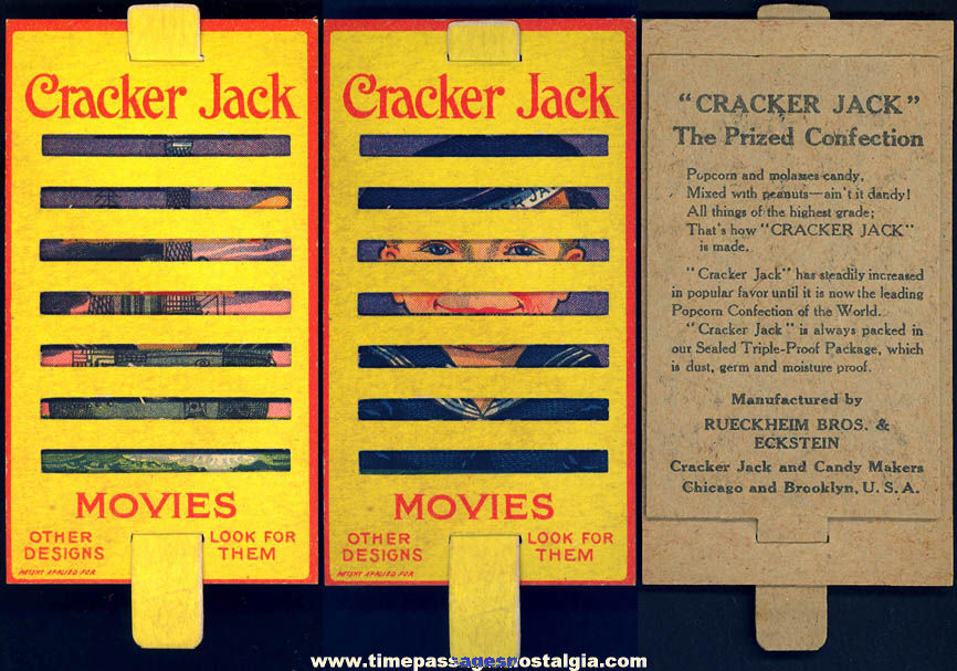 1910s Cracker Jack Pop Corn Confection Advertising Movie Slide Card Toy Prize