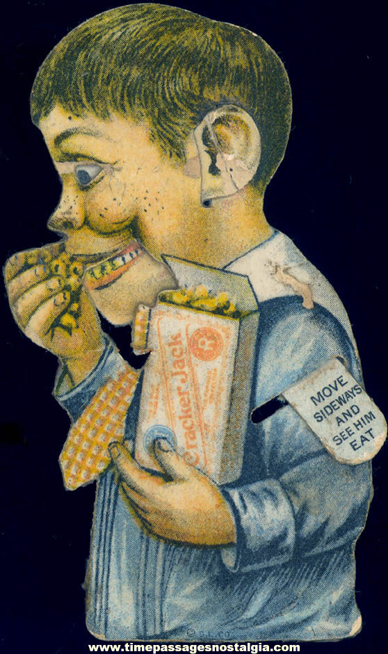 1910s Cracker Jack Pop Corn Confection Advertising Mechanical Boy Eating Toy Prize