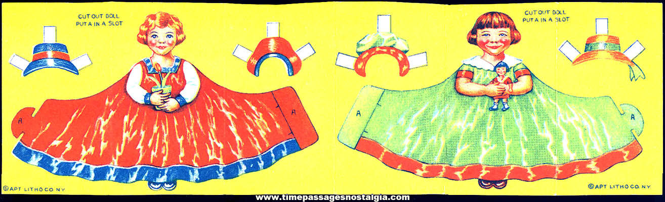 (2) Colorful Unused ©1939 Cracker Jack Pop Corn Confection Toy Prize Paper Dolls