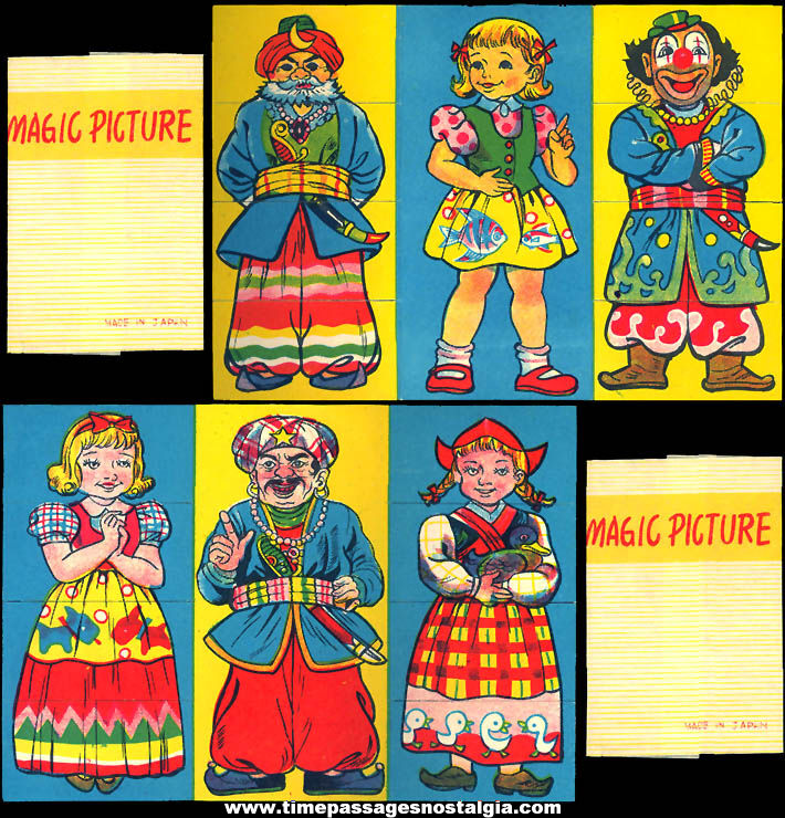 Colorful Old Cracker Jack Pop Corn Confection Paper Toy Prize Magic Picture With Sleeve