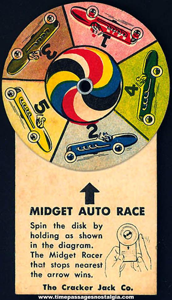 ©1949 Cracker Jack Pop Corn Confection Midget Auto Race Toy Prize Spinner Game