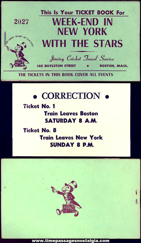 Old Walt Disney Jiminy Cricket Travel Service Weekend In New York With The Stars Ticket Booklet