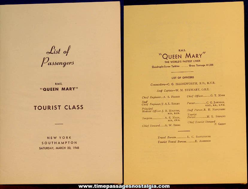 March 20, 1948 R.M.S. Queen Mary Ship Advertising Souvenir Passenger List Booklet