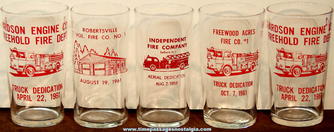 (5) 1950s & 1960s Fire Department Advertising Souvenir Imprinted Drink Glasses