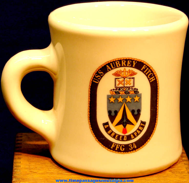 Old United States Navy U.S.S. Aubrey Fitch (FFG-34) Ship Advertising Ceramic or Porcelain Coffee Cup