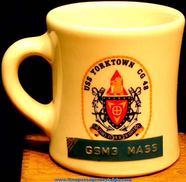Old United States Navy U.S.S. Yorktown (CG-48) Ship Advertising Ceramic or Porcelain Coffee Cup
