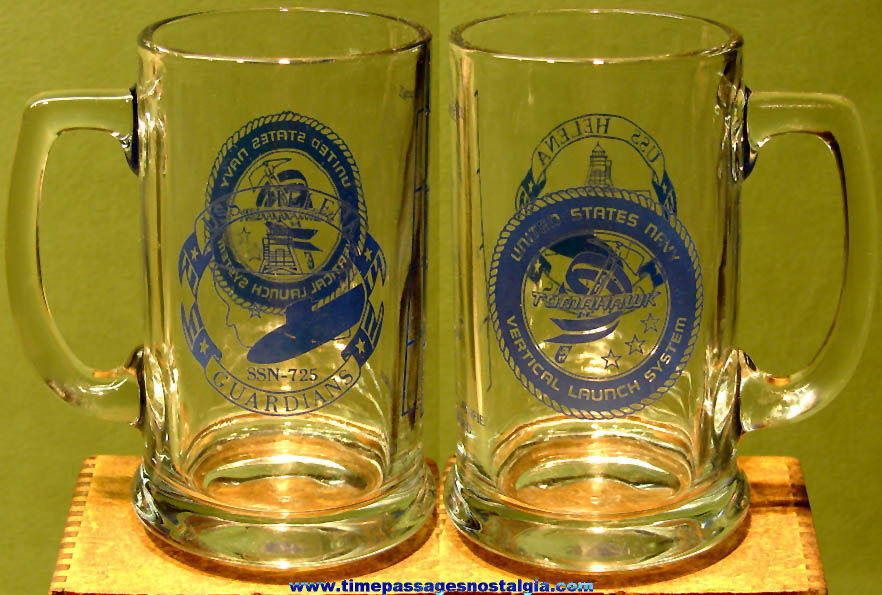 Old United States Navy U.S.S. Helena (SSN-725) Submarine Advertising Glass Beer Mug
