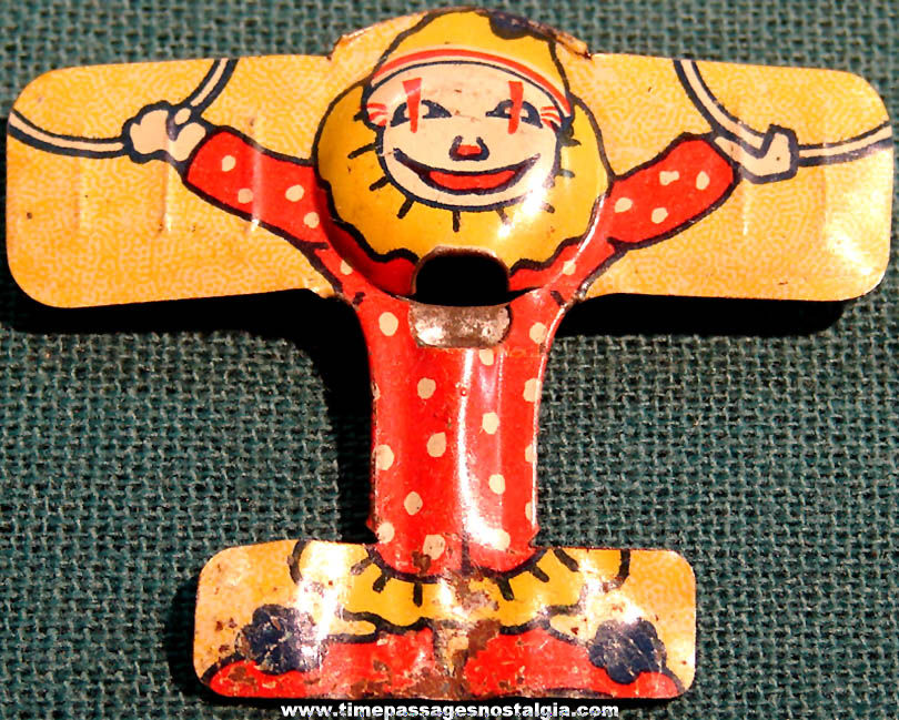 1920s Cracker Jack Pop Corn Confection Lithographed Tin Circus Clown Airplane Whistle Toy Prize