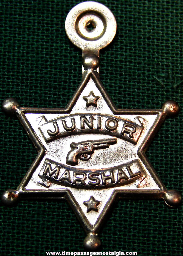 Unused 1950s Cracker Jack Pop Corn Confection Embossed Silver Tin Metal Junior Marshall Toy Prize Star Badge